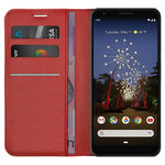 Leather Wallet Case & Card Holder Pouch for Google Pixel 3a XL - Red